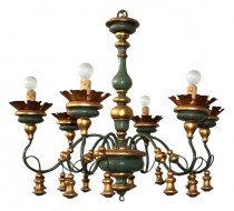 Large Baroque Style Six-light Chandelier with 3 Matching Sconces SOLD
