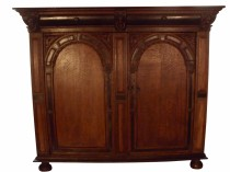 Circa 1650 Dutch Two-door Carved Oak Cabinet