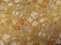 Vintage Morris Arts and Crafts Linen Print Golden Lily SOLD
