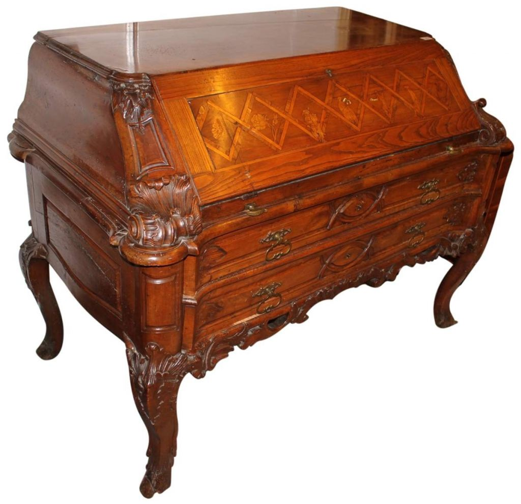 18th Century Carved and Inlaid Baroque Desk