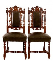 Set of Six 19th Century Black Forest Carved Oak Dining Room Chairs Free Shipping