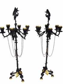Pair Second Empire Bronze Crane Candelabrae