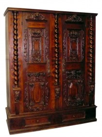 1680 South German Fassadenschrank Cabinet Carvings and Parquetry