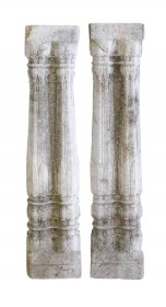 Pair 19th Century Indian Finely Carved Stone Fluted Double Columns
