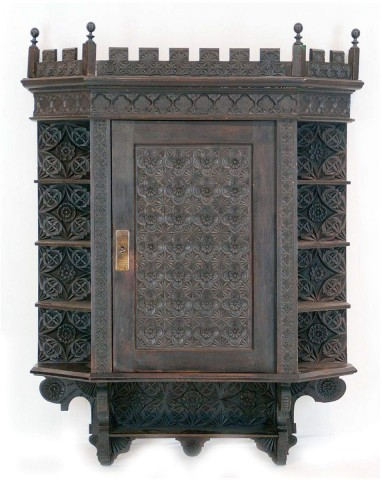 Circa 1900 Spoon Carved Gothic Style Wall Cabinet
