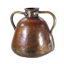 Large European Copper and Brass Handled Vessel