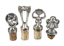 Coming Soon - 4 Jugenstil Silverplated Bottle Stoppers