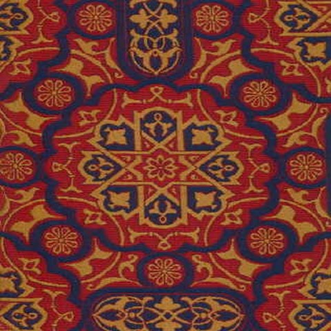 Celtic Gothic Blue Gold Red Tapestry Upholstery Fabric