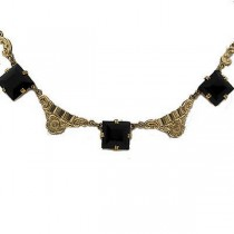 Art Deco Necklace Black Stone Gold Filled