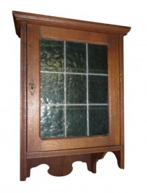 Coming Soon 1900 Jugendstil Oak Leaded Colored Glass Cabinet