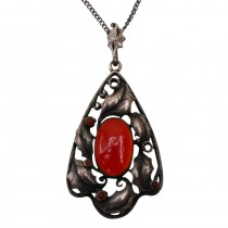 SOLD Sterling Silver Art Nouveau Jugendstil Pendant with Chain circa 1900