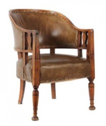 SOLD Circa 1900 Arts and Crafts Art Nouveau Library Leather Armchair