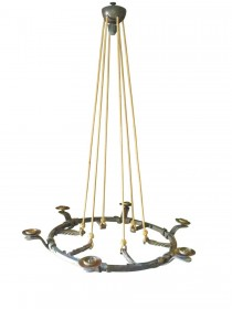SOLD Arts and Crafts Handmade Wrought Iron 6 Light Hanging Chandelier