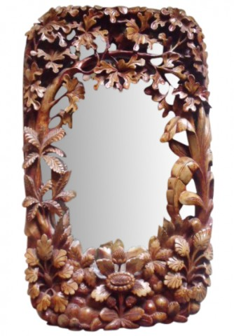 SOLD Circa 1900 German Black Forest Carved Mirror