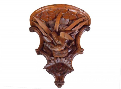 SOLD 19th Century Black Forest Walnut Carved Shelf