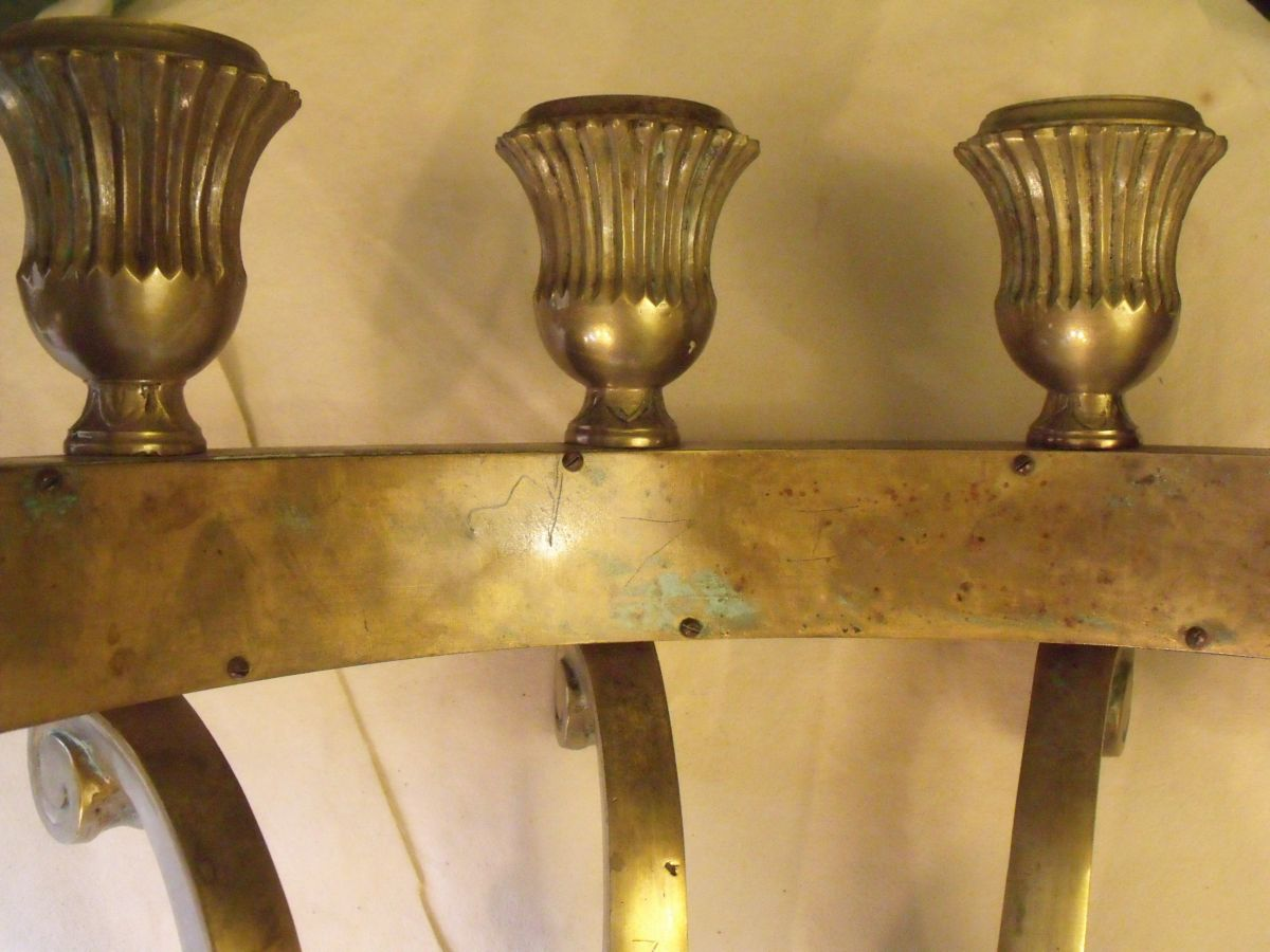 SOLD Large Massive Bronze Art Deco Sconces: Au Fil de l\'Eau Antiques