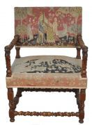 Coming Soon Pair Carved Armchairs Needlepoint