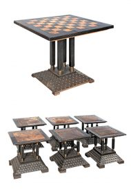 Rare Secessionist Vienna Chess Table and 6 Stools