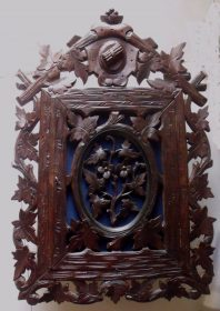 SOLD 19th Century Black Forest Hand Carved Hanging Cabinet
