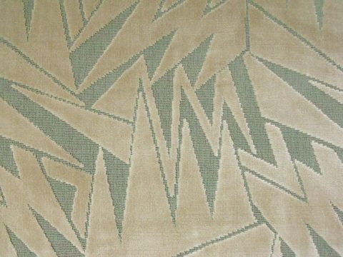 6.5 y Art Deco Angles Figured Velvet 100% Cotton Beige Aqua Brunschwig & Fils