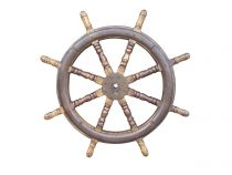 SOLD 19th Century Ship Wheel Wrought Iron Oak 43""
