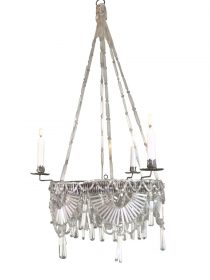 SOLD Biedermeier Classical Hanging Chandelier Glass Beads Handwoven