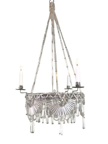 Biedermeier Classical Hanging Chandelier Glass Beads Handwoven