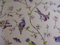 Bonaire Cotton Birds Print Plum Blue Brunschwig & Fils