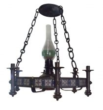 SOLD Circa 1900 Arts and Crafts Neo Gothic Wrought Iron Brass Candelabra Oil Lamp