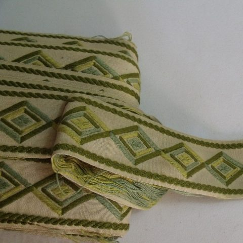 Vintage Lyon France Embroidery Tape Trim Thick Wide Green Blue