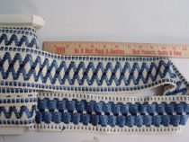 "SOLD Vintage Lyon France Embroidery Tape Trim Thick 3"" Wide White Blue"