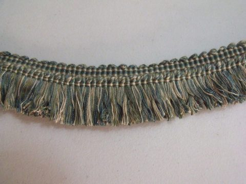 Vintage Lyon France Brush Fringe Pale Blues Greens Beige Trim