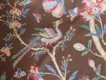 Nemours Allspice Brown Baroque Cotton Print Brunschwig & Fils