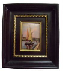 SOLD French Enamel Plaque Limoges Betourne Unusual Subject Sailboat Nautical Maritime