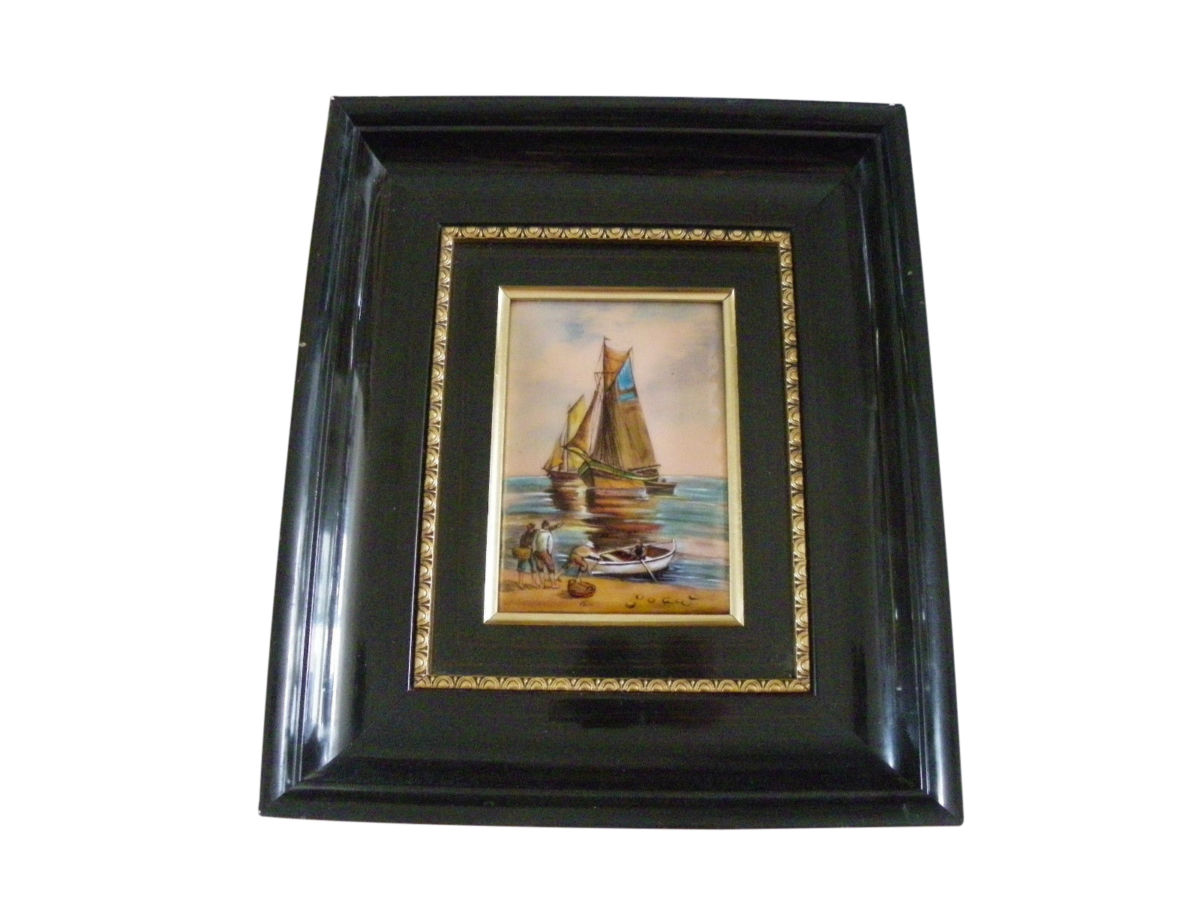 French Enamel Plaque Limoges Betourne Fishermen Sailboats