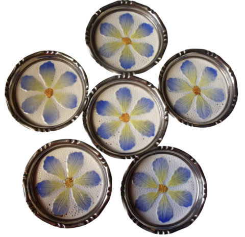 Set of Six German Art Nouveau Ceramic Metal Rim Floral Daisies Coasters