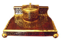 SOLD Art Nouveau Erhard & Söhne Brass Inlay Rosewood Inkwell
