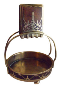 SOLD Art Nouveau Erhard & Söhne Brass Inlay Rosewood Matchbox Holder Ashtray