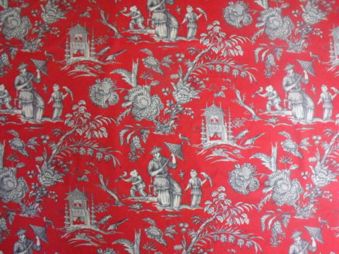 Manuel Canovas Mandarin Tomato Red White Black Chinoiserie Print Cotton Linen