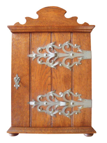 Late 19th Century Arts And Crafts German Solid Oak Hanging Cabinet