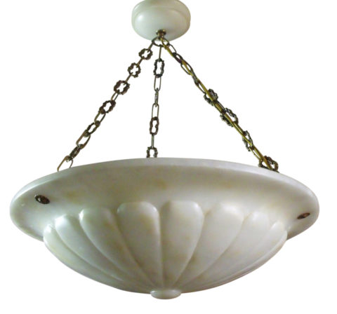 "Large 21"" Carved Alabaster Pendant Ceiling Light Early 20th Century"