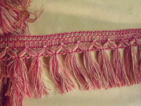 "10.94 Yards Vintage French 2 3/4"" Cut Fringe Trim Pink White"