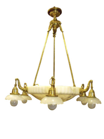 French Belle Epoque Circa 1900 Gilt Bronze & Alabaster Six-Light Chandelier