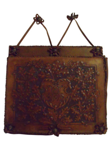 19th Century German Hand Tooled Leather Wall Pocket Newspaper Holder