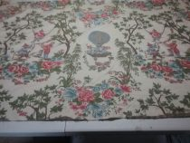 1 yard Remnant Piece of Lampas Oriental Figurative Fabric