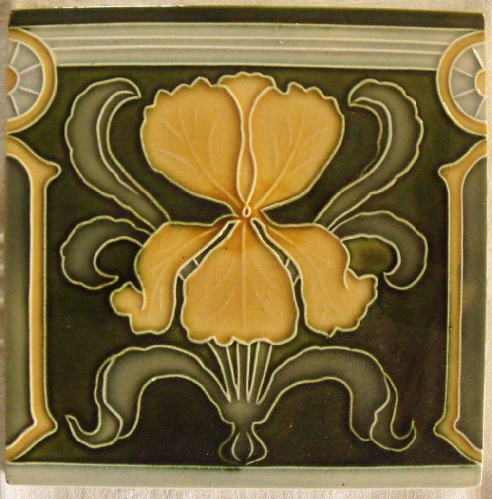 Art Nouveau Jugendstil Iris Antique Tile Sold Au Fil De L