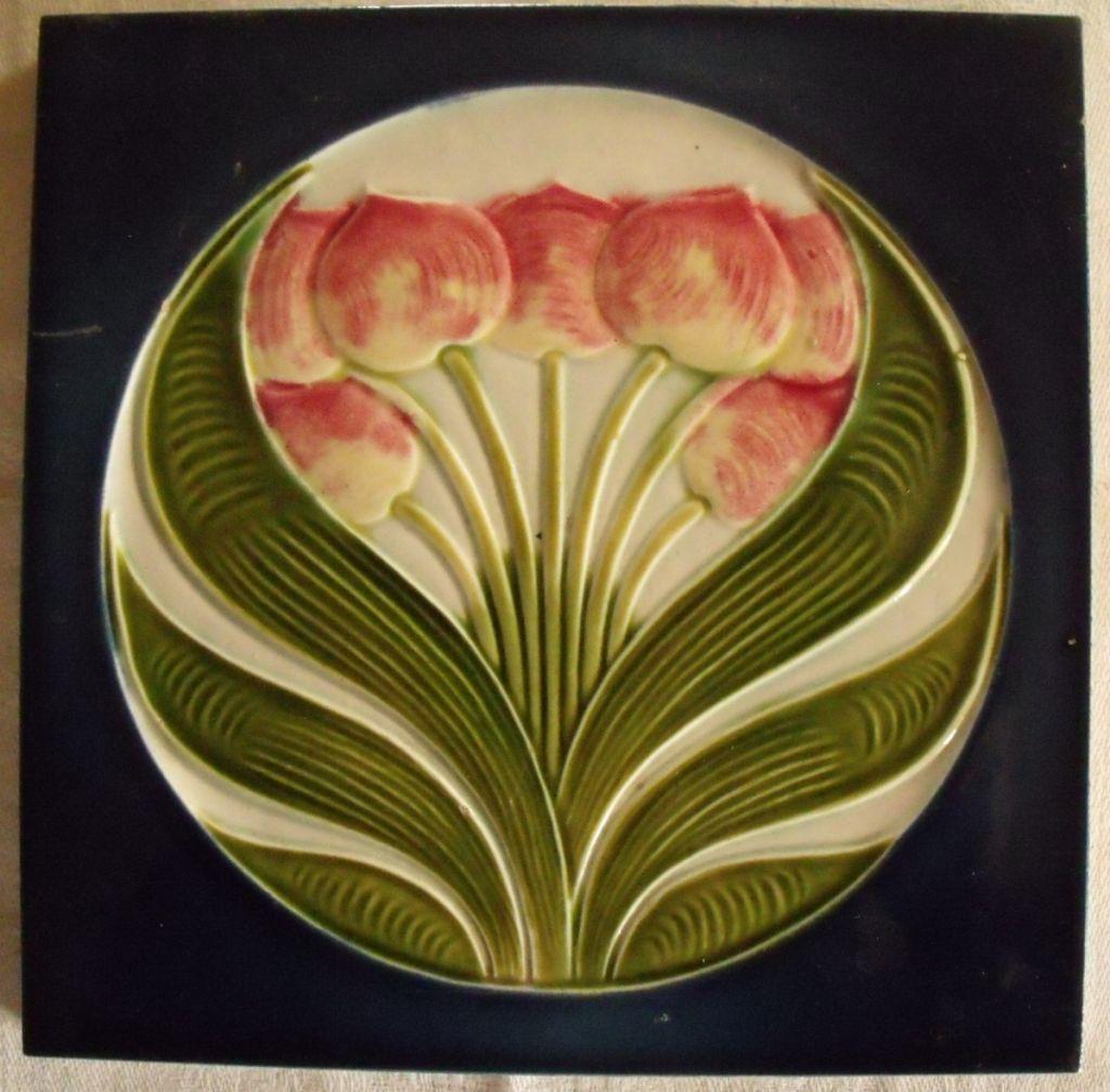 Art Nouveau Jugendstil Tulips Antique Tile Sold Au Fil De